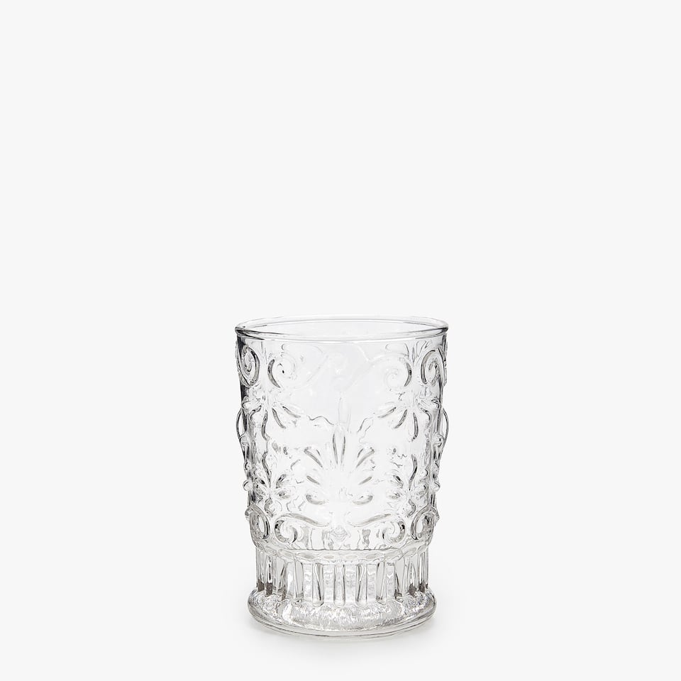 GLASS TUMBLER WITH RAISED FLORAL DESIGN