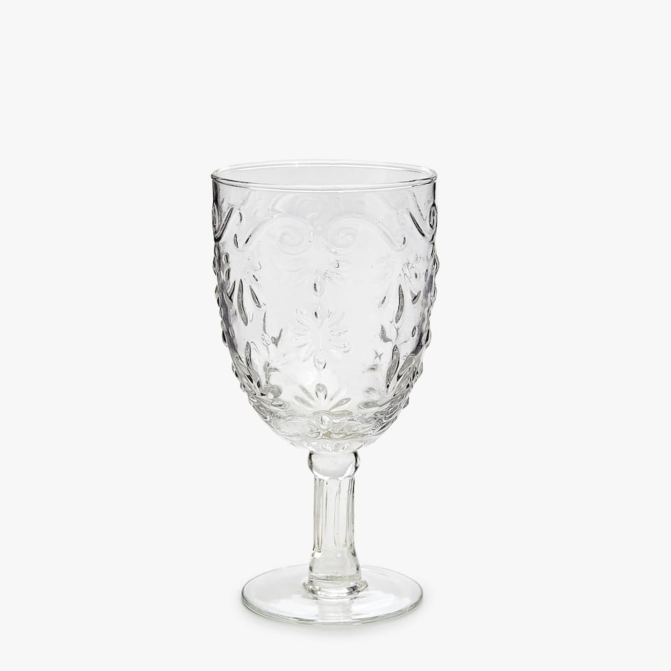 RAISED DESIGN WINE GLASS