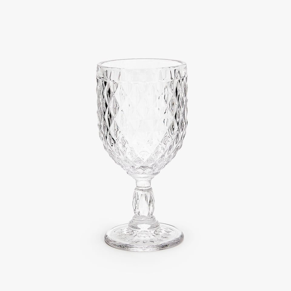 RAISED DIAMOND DESIGN WINE GLASS