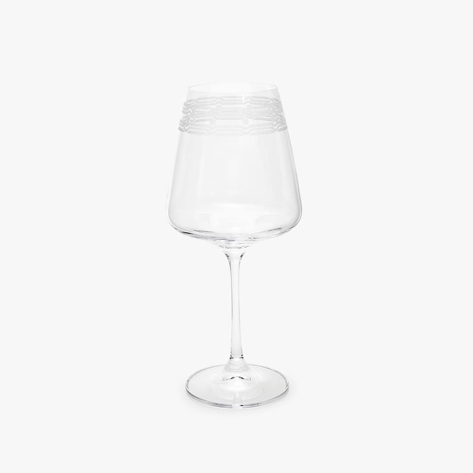 CRYSTALLINE WINE GLASS WITH BORDER