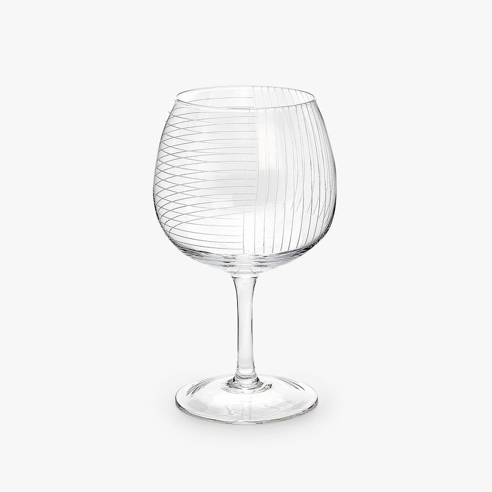 ENGRAVED GRID WINE GLASS