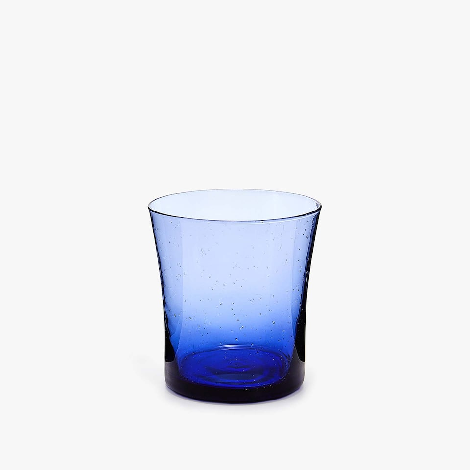 BLUE BUBBLES-EFFECT GLASS TUMBLER