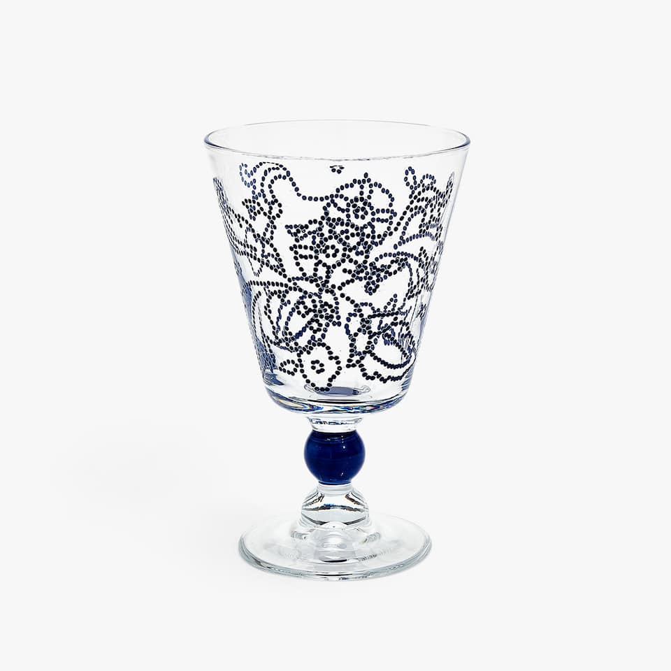 RAISED DOTS FLORAL WINE GLASS
