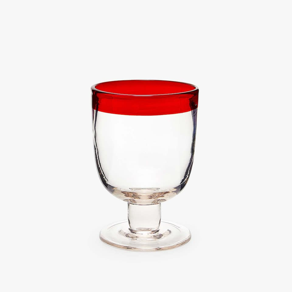 WINE GLASS WITH COLOURED RIM