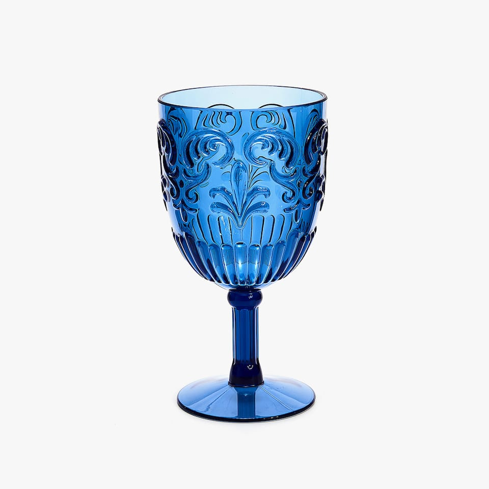 ACRYLIC RAISED DESIGN WINE GLASS