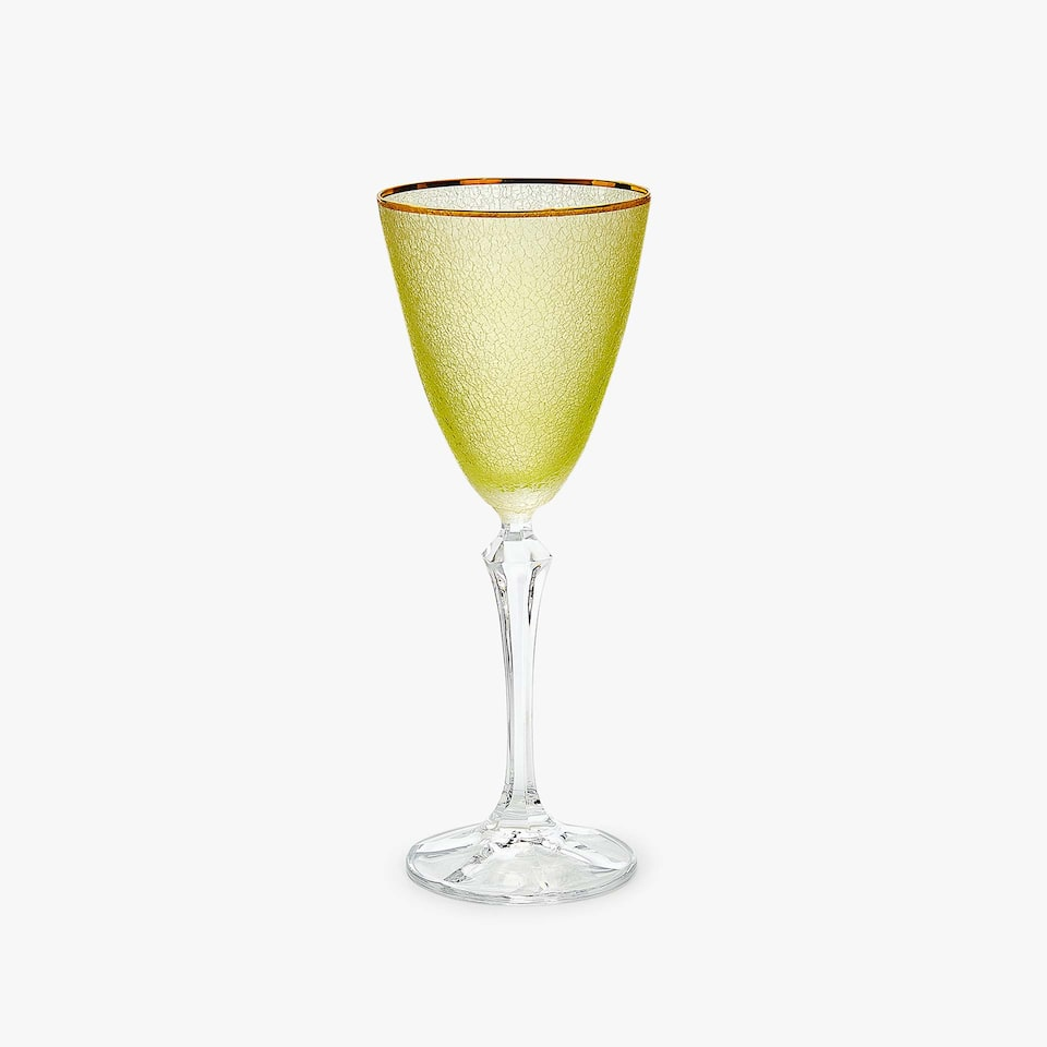 CRACKLED-EFFECT WINE GLASS WITH GOLD RIM