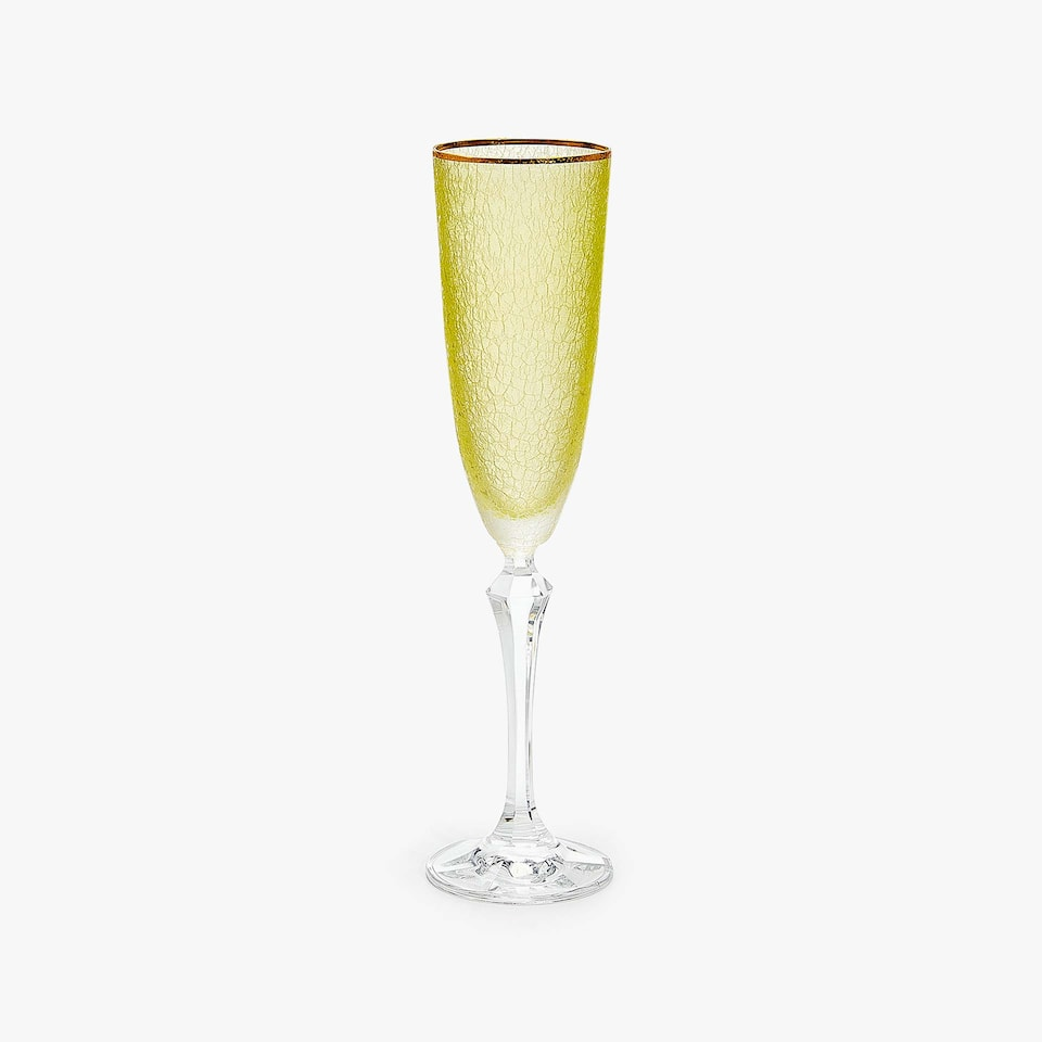 CRACKLED-EFFECT CHAMPAGNE FLUTE WITH GOLD RIM