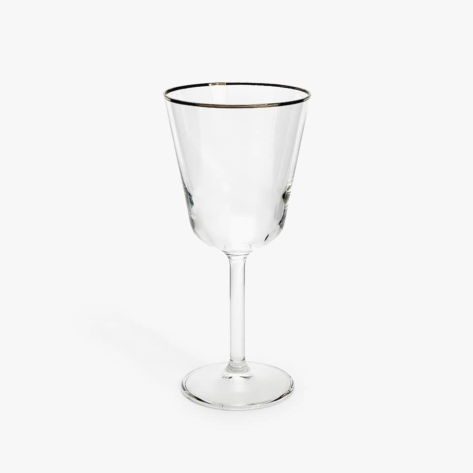 WINE GLASS WITH RIM DETAIL