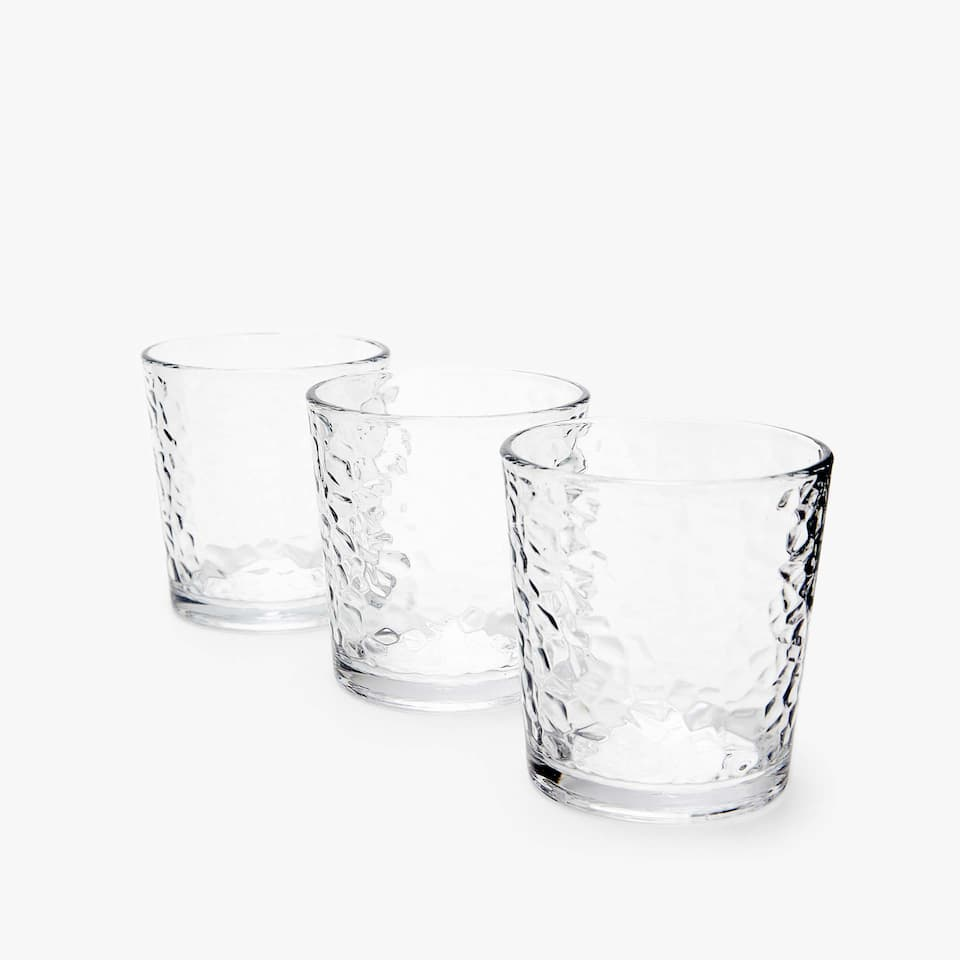 SET OF 3 FACETED-EFFECT TUMBLERS