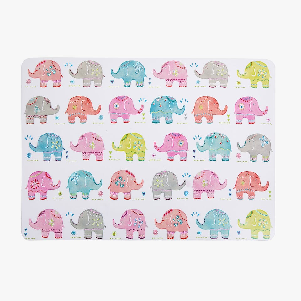 SET DE TABLE ÉLÉPHANTS MULTICOLORE