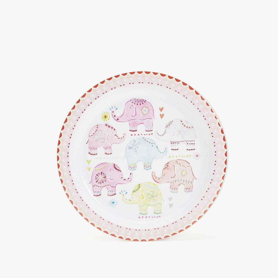 MULTICOLOURED ELEPHANTS PLATE