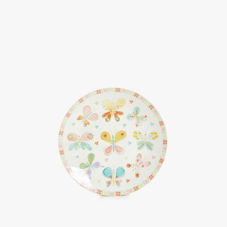 WATERCOLOUR BUTTERFLY PORCELAIN PLATE