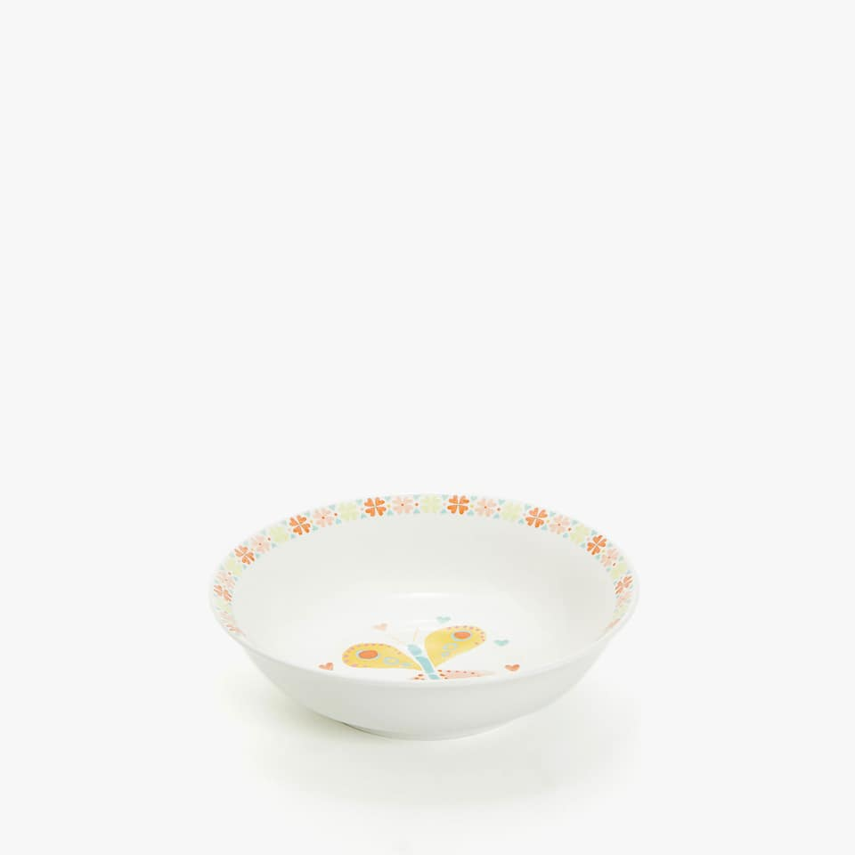WATERCOLOUR BUTTERFLY PORCELAIN BOWL