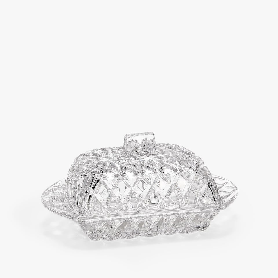 GEOMETRIC ENGRAVED GLASS BUTTER DISH
