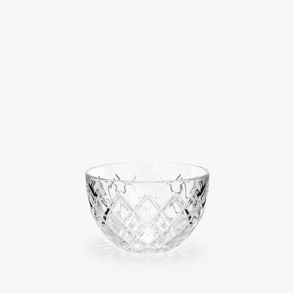 GEOMETRIC ENGRAVED GLASS BOWL
