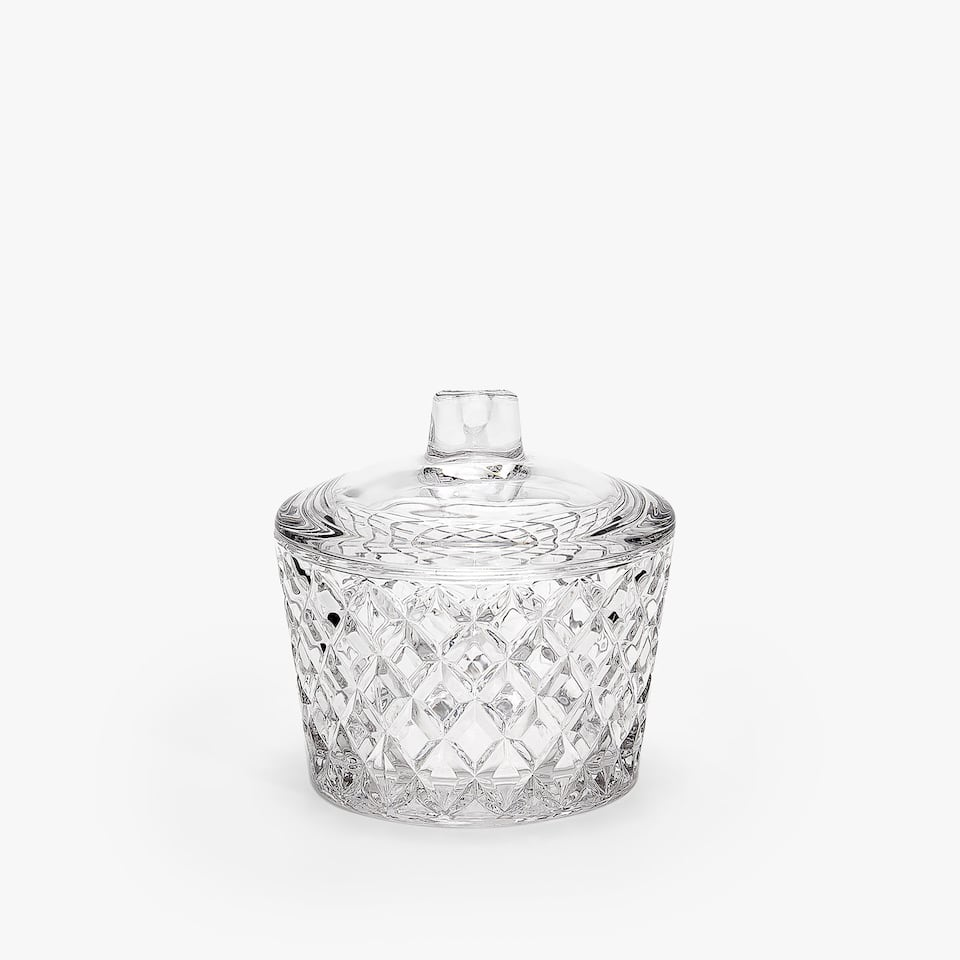 GEOMETRIC ENGRAVED GLASS SUGAR BOWL