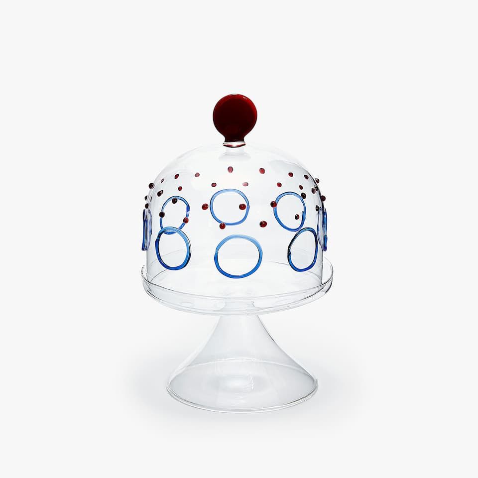 CIRCLES AND POLKA DOTS BOROSILICATE GLASS TIERED SERVING DISH