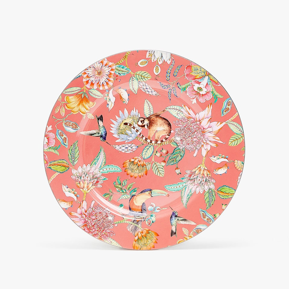 TROPICAL PRINT CHARGER PLATE