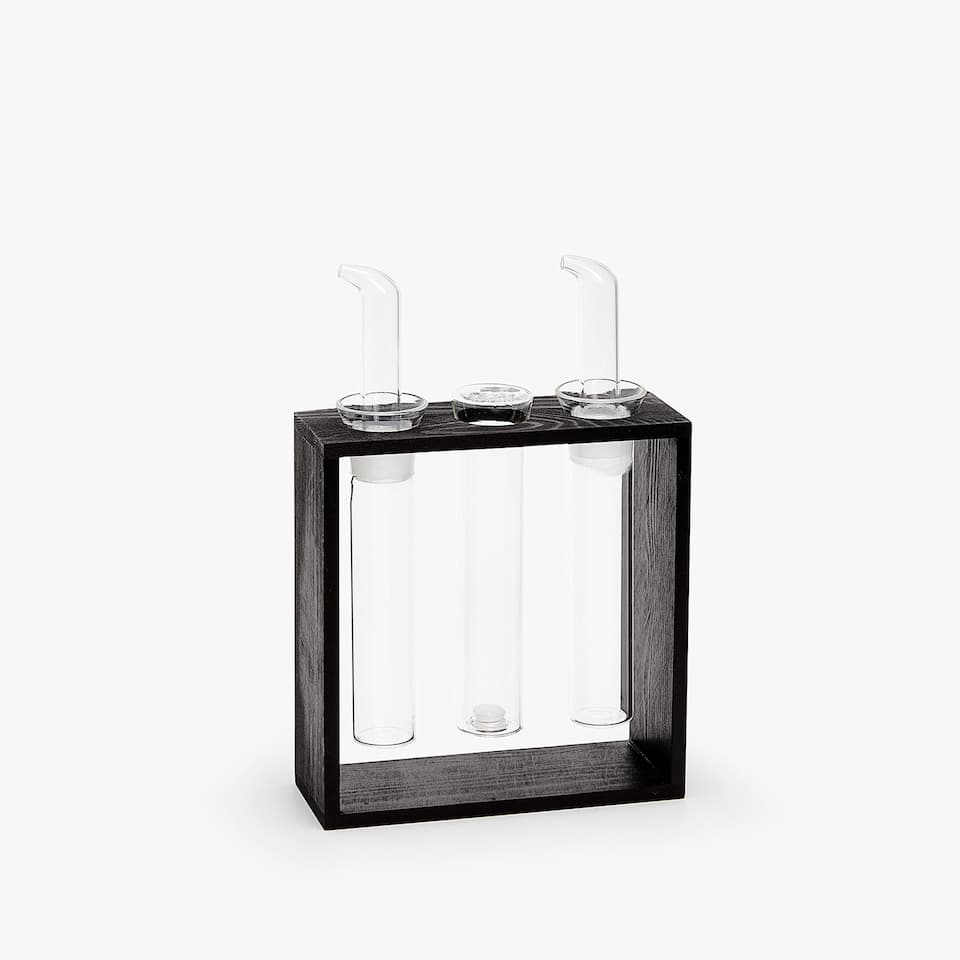 BOROSILICATE GLASS CONVOY WITH WOODEN RACK