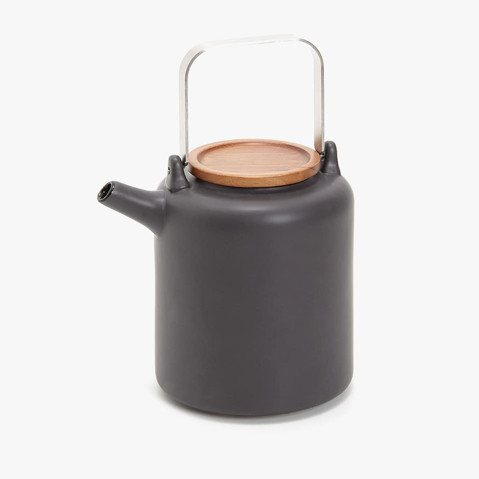 EARTHENWARE TEAPOT WITH WOODEN LID