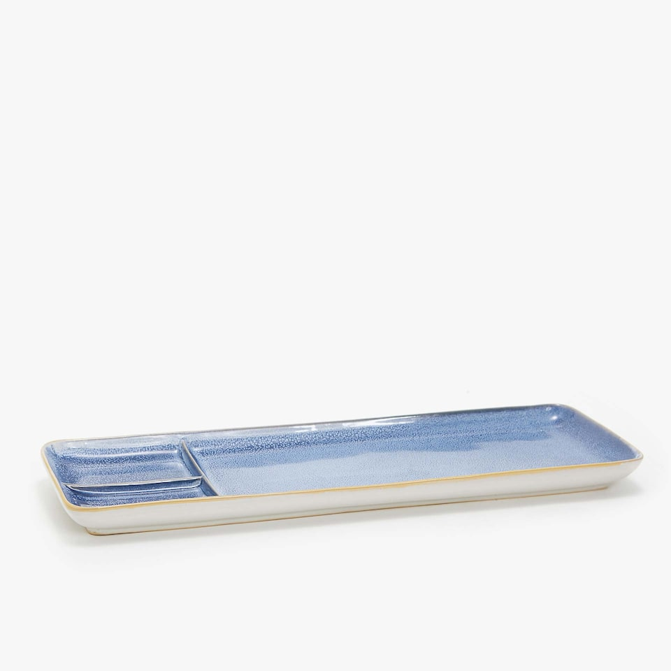RECTANGULAR EARTHENWARE SERVING DISH WITH COMPARTMENTS