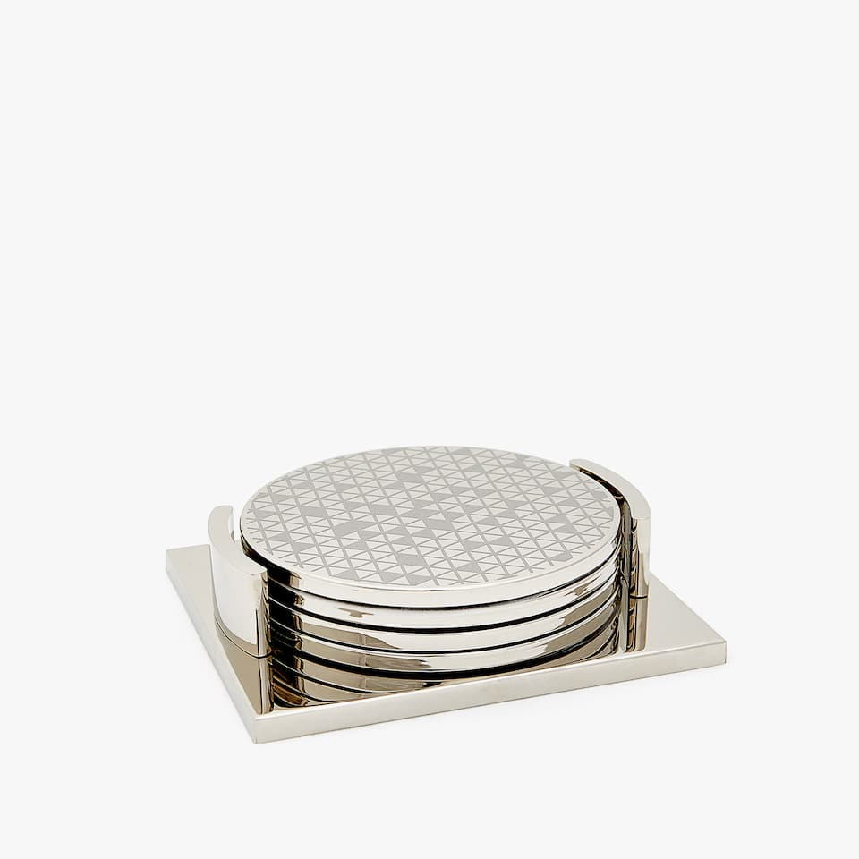 COASTERS WITH GEOMETRIC DESIGN BASE (SET OF 4)