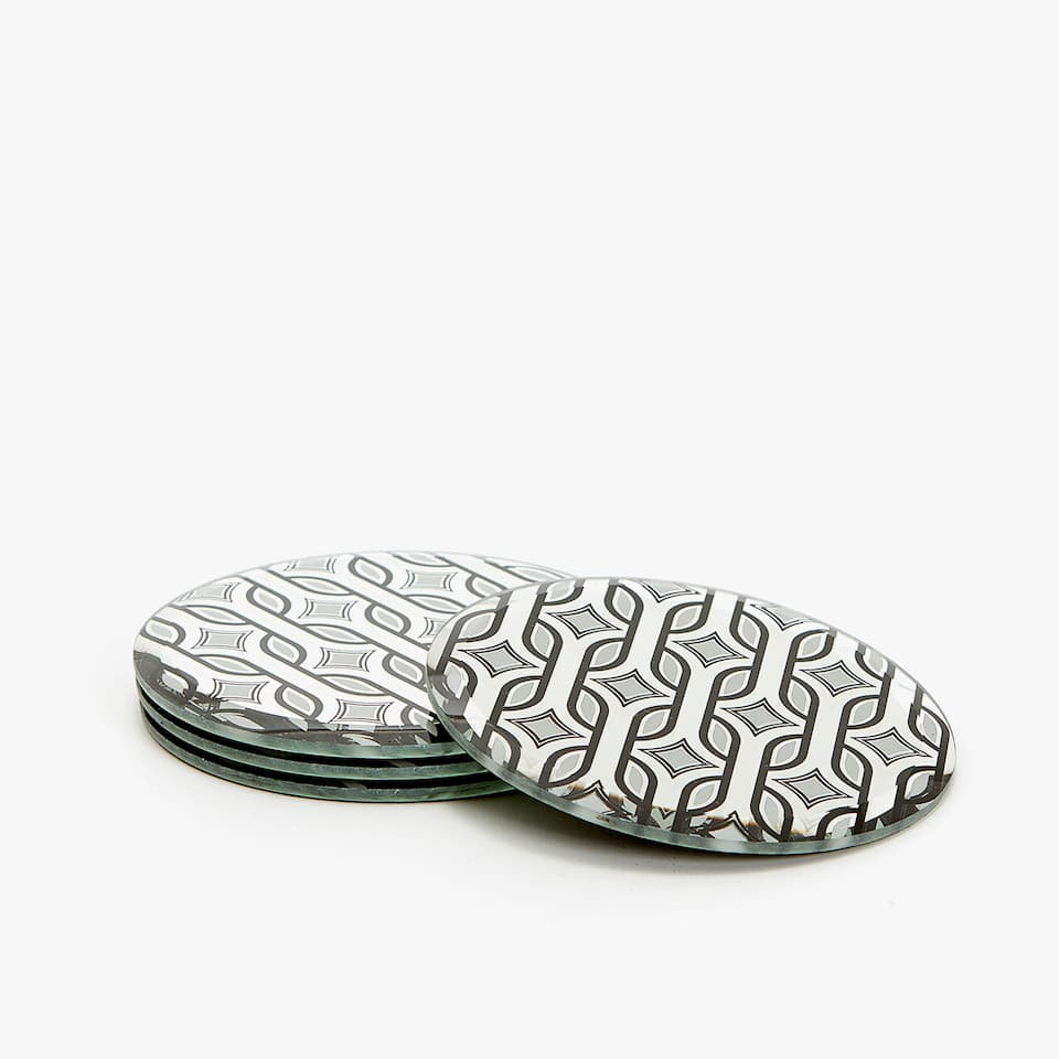 MIRRORED-EFFECT COASTERS WITH GEOMETRIC DESIGN (SET OF 4)