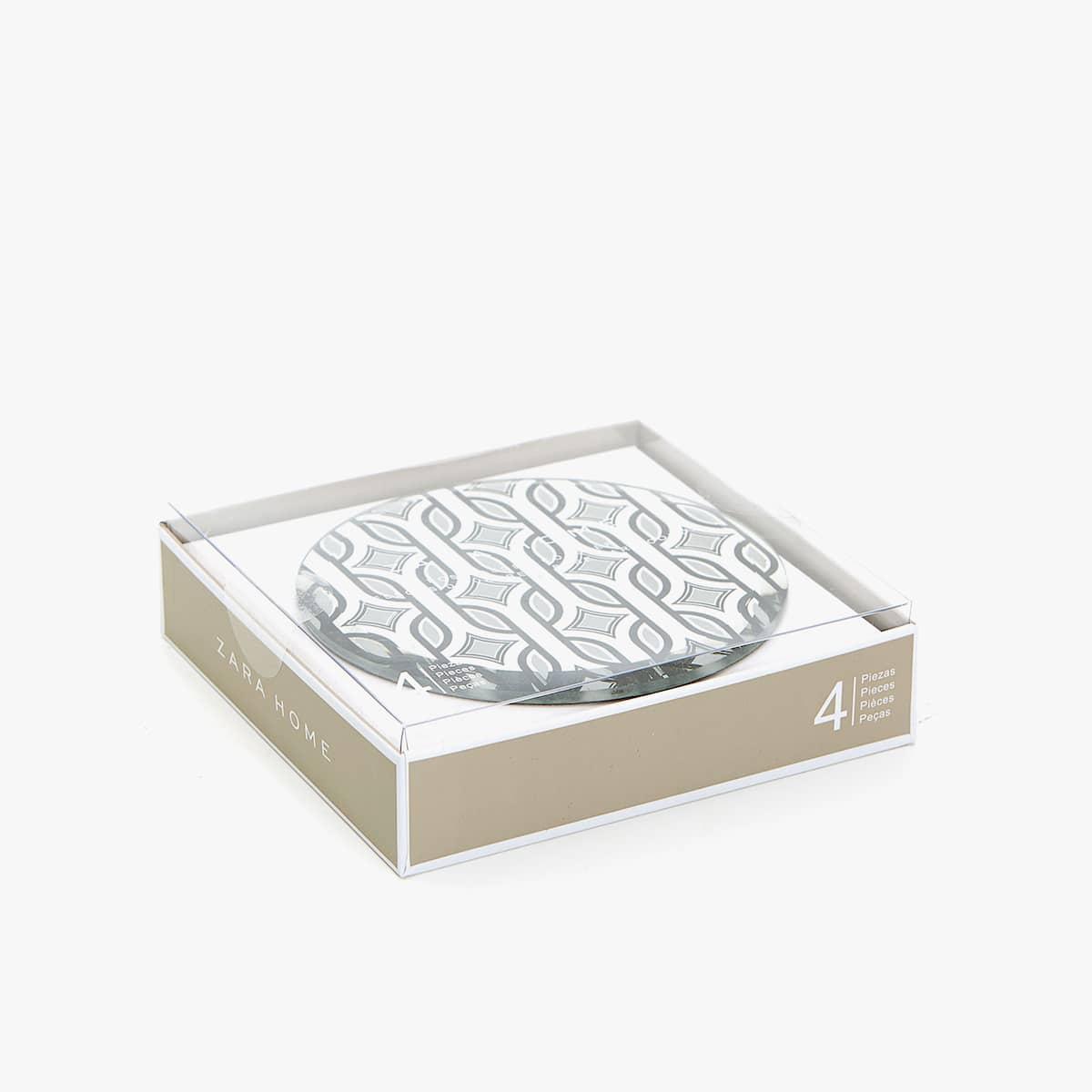 Posavasos Efecto Espejo Dibujo Geom Trico Set De 4 Posavasos  # Muebles Efecto Espejo