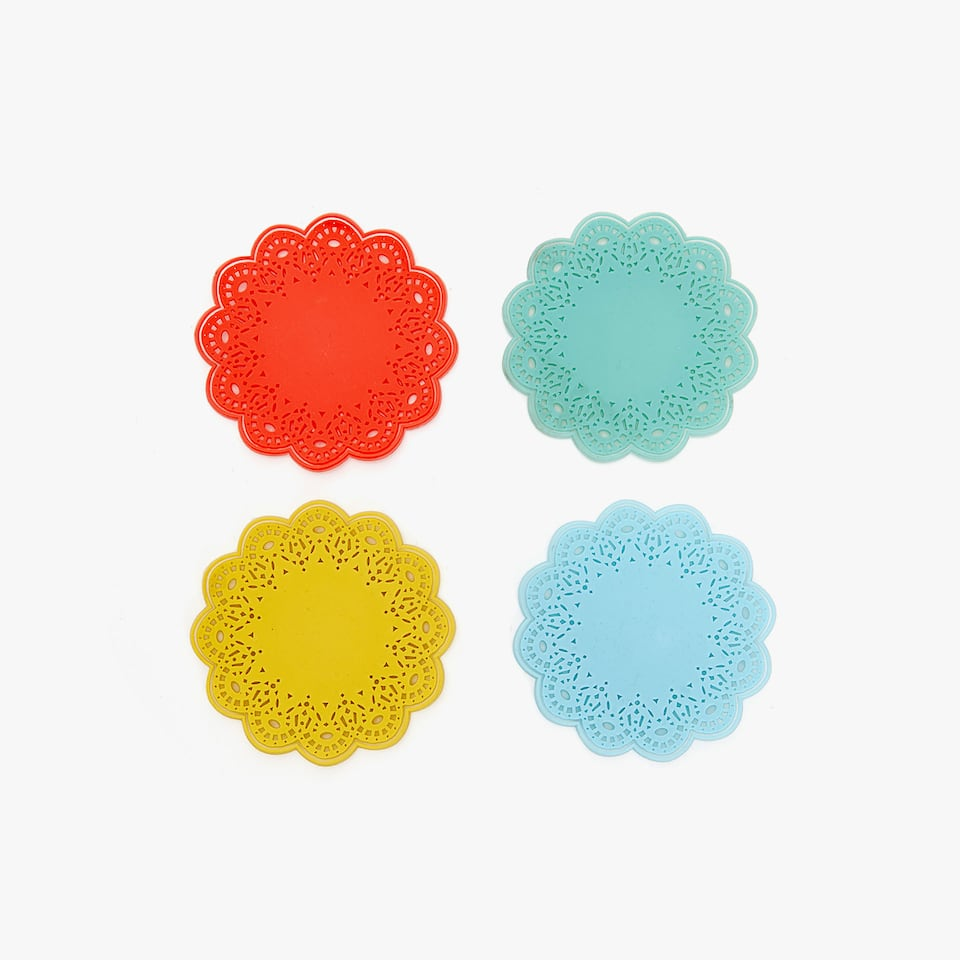 DESSOUS-DE-VERRE SILICONE COULEURS ASSORTIES (LOT DE 4)