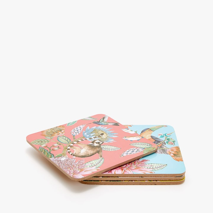 Image Of The Product TROPICAL PRINTED COASTERS SET OF 4