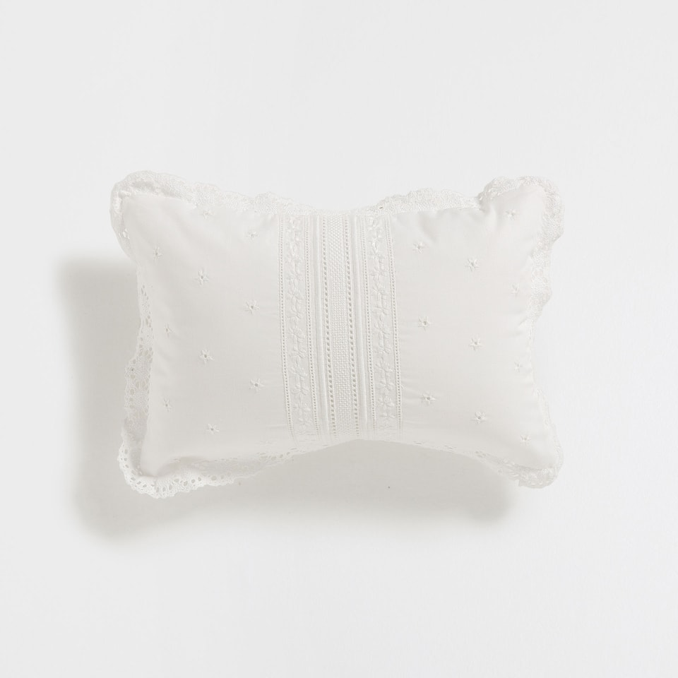 EMBROIDERED PERCALE COTTON CUSHION