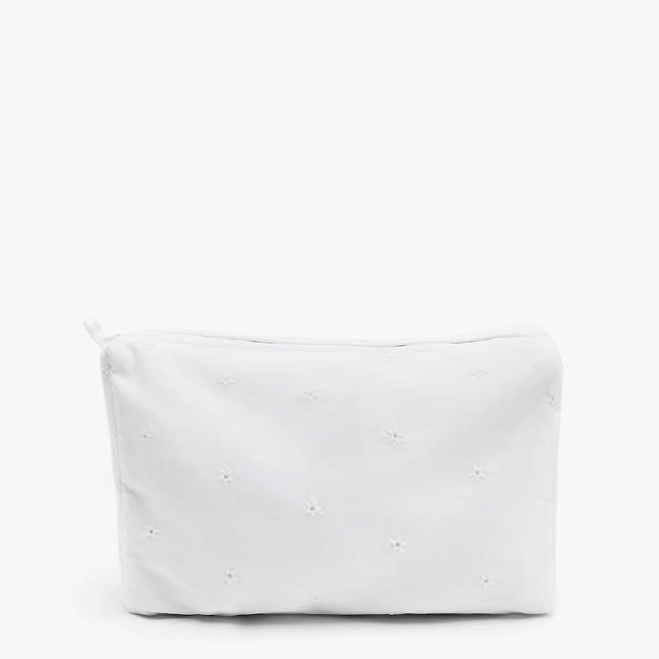 EMBROIDERED PERCALE COTTON TOILETRY BAG