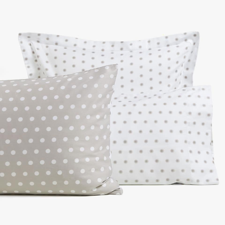 REVERSIBLE POLKA DOT PRINT PILLOWCASE
