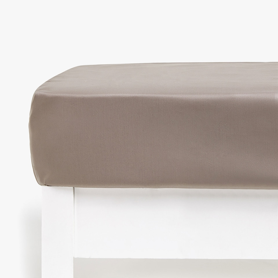 TAUPE SATEEN FITTED SHEET