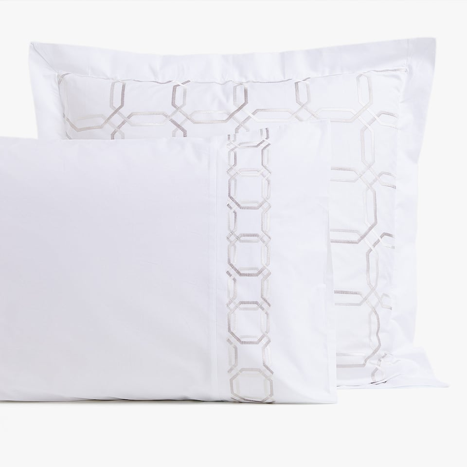 PILLOWCASE WITH OCTAGONAL EMBROIDERY
