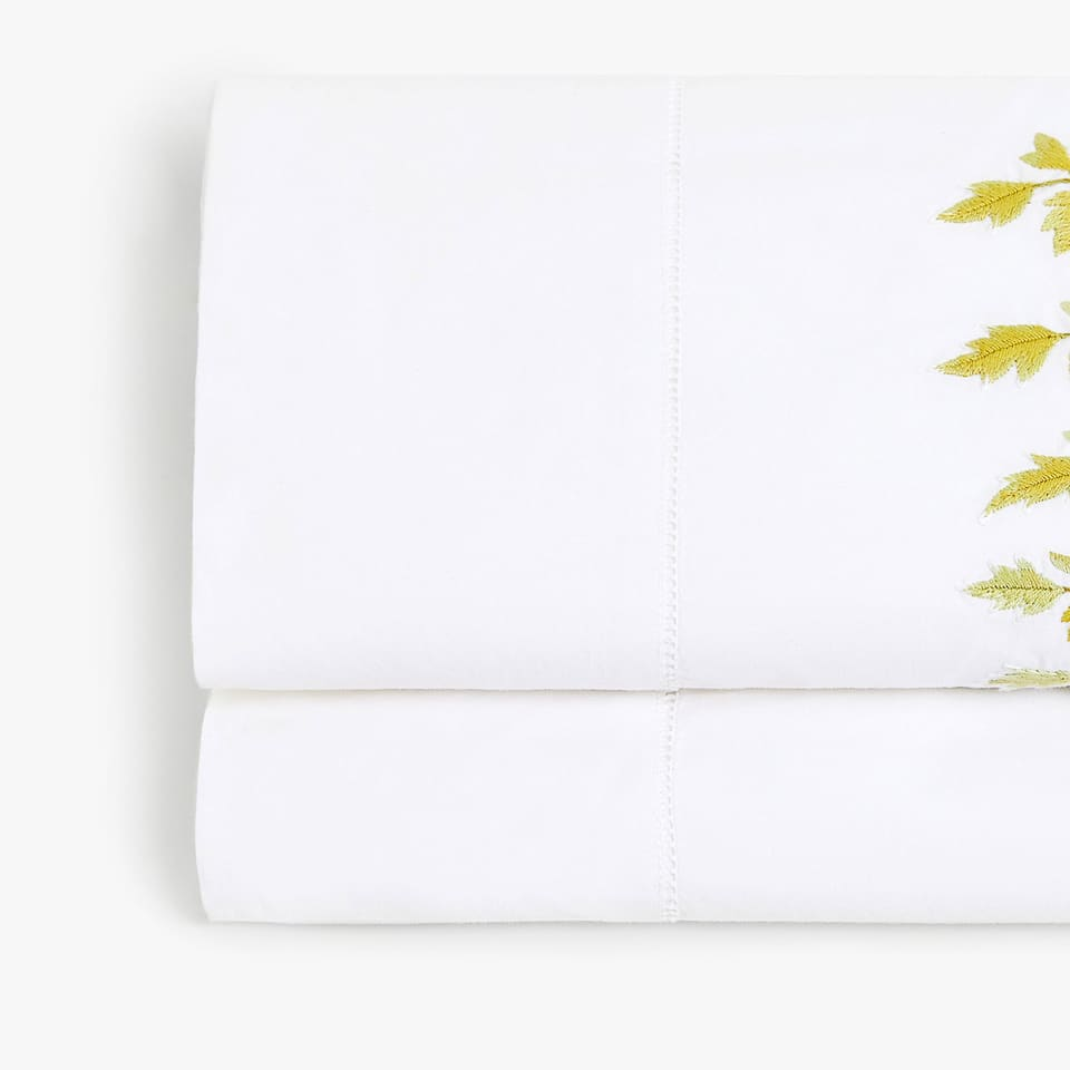 EMBROIDERED FERN FLAT SHEET
