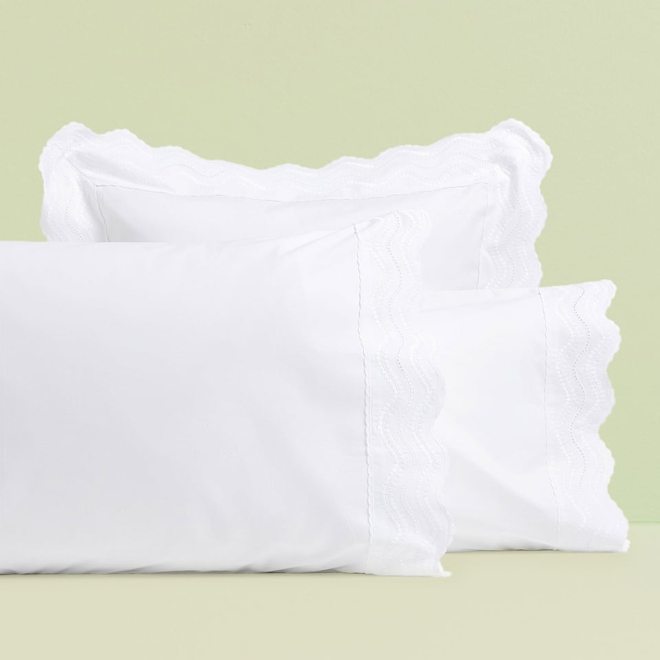 EMBROIDERED WAVES PILLOWCASE
