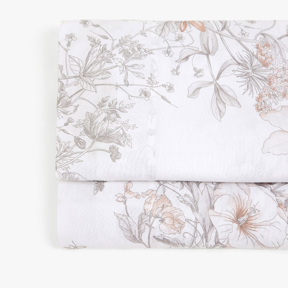 FLOWER AND BIRD PRINT FLAT SHEET