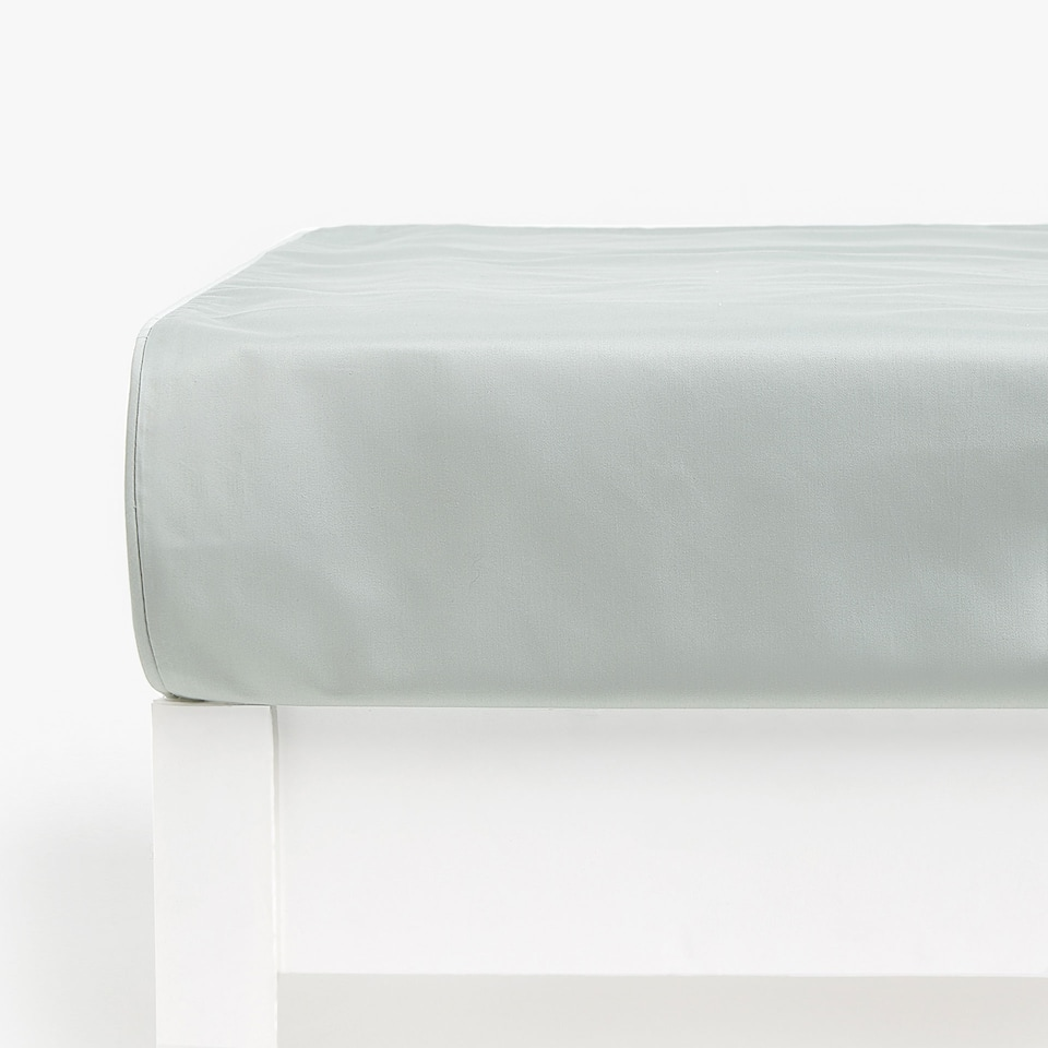 BLUE SATEEN FITTED SHEET