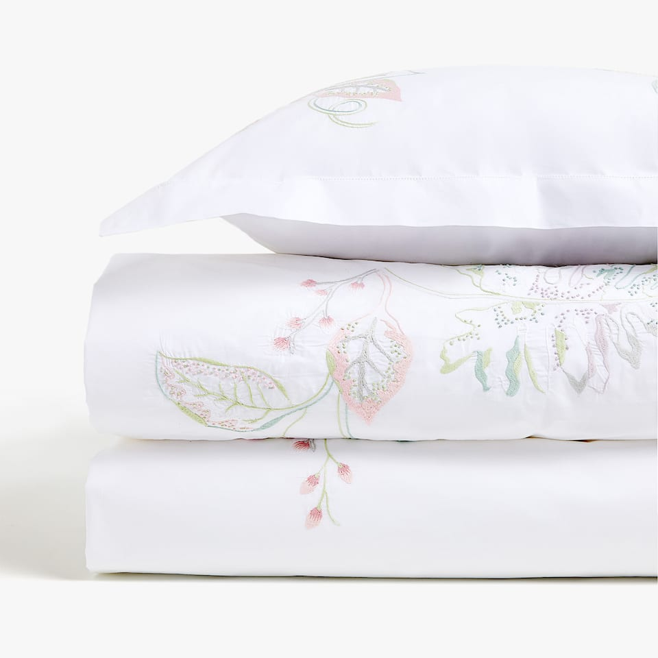 DUVET COVER WITH EMBROIDERED LEAVES