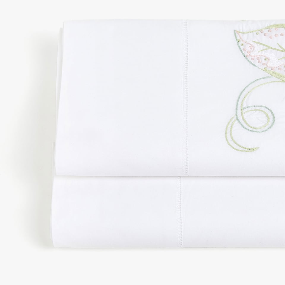 FLAT SHEET WITH EMBROIDERED LEAVES