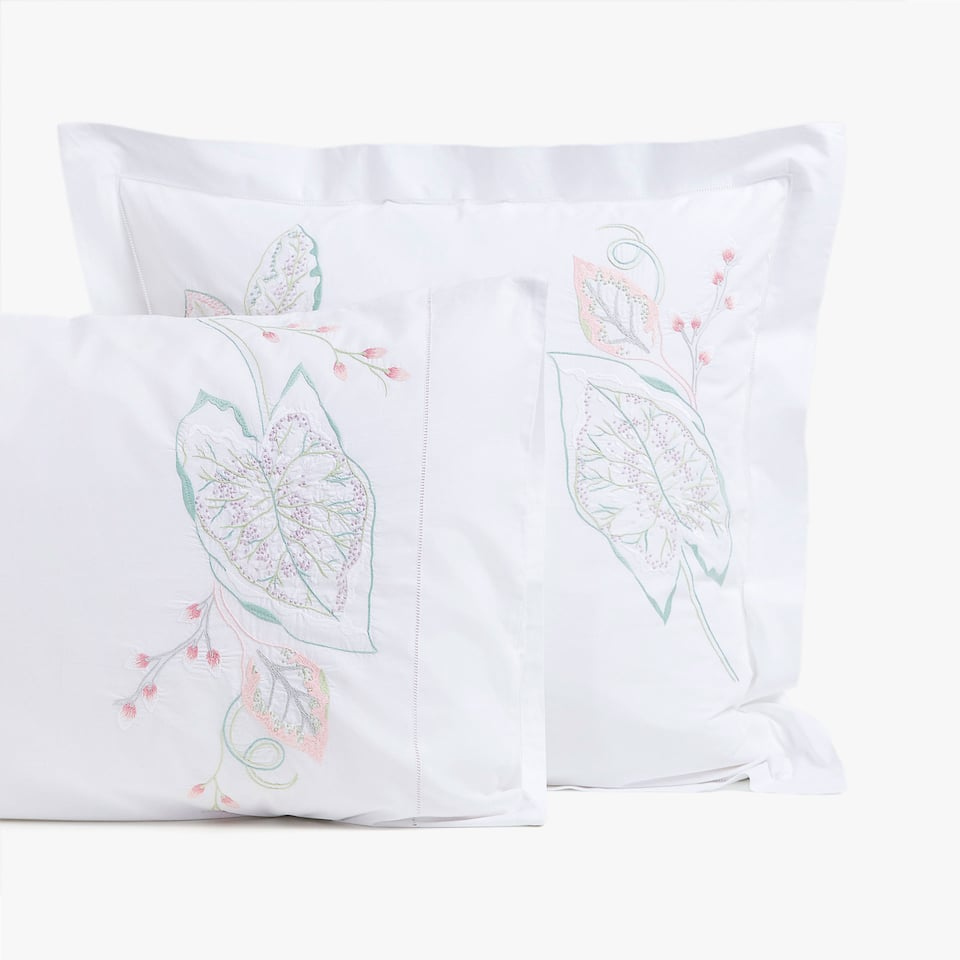 EMBROIDERED LEAVES PILLOWCASE