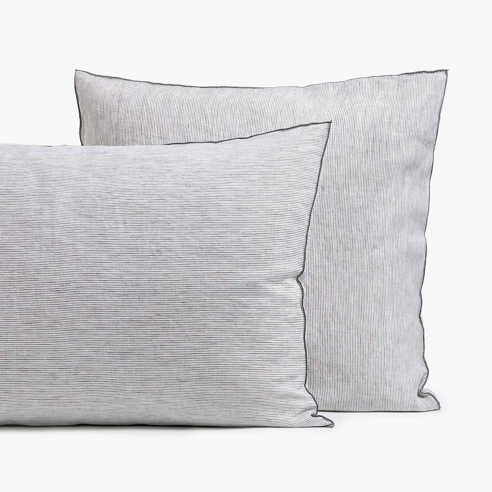 GREY STRIPED LINEN PILLOWCASE