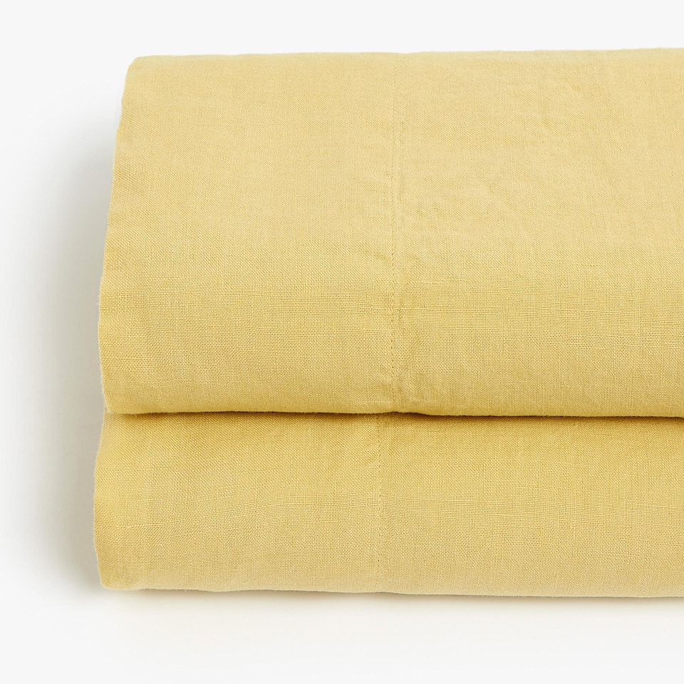Lemon yellow linen top sheet