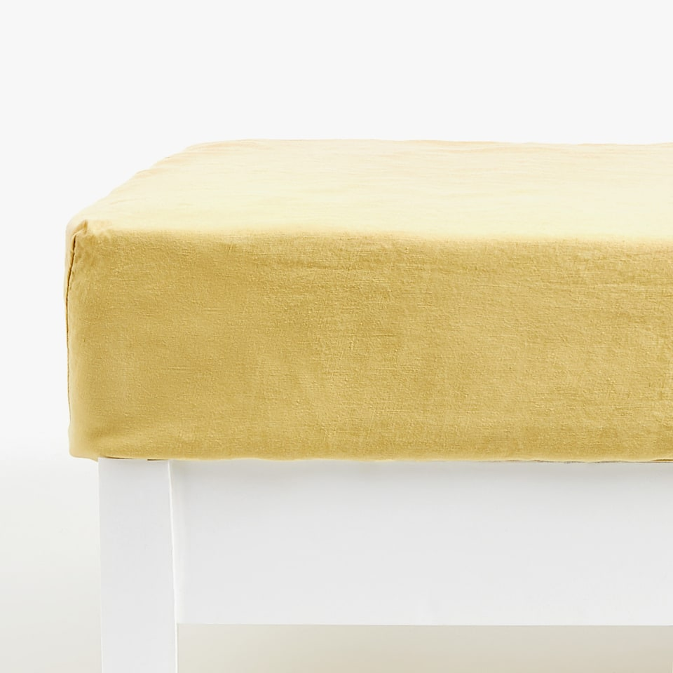 LEMON YELLOW LINEN FITTED SHEET