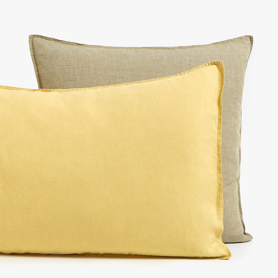 LEMON YELLOW LINEN PILLOWCASE