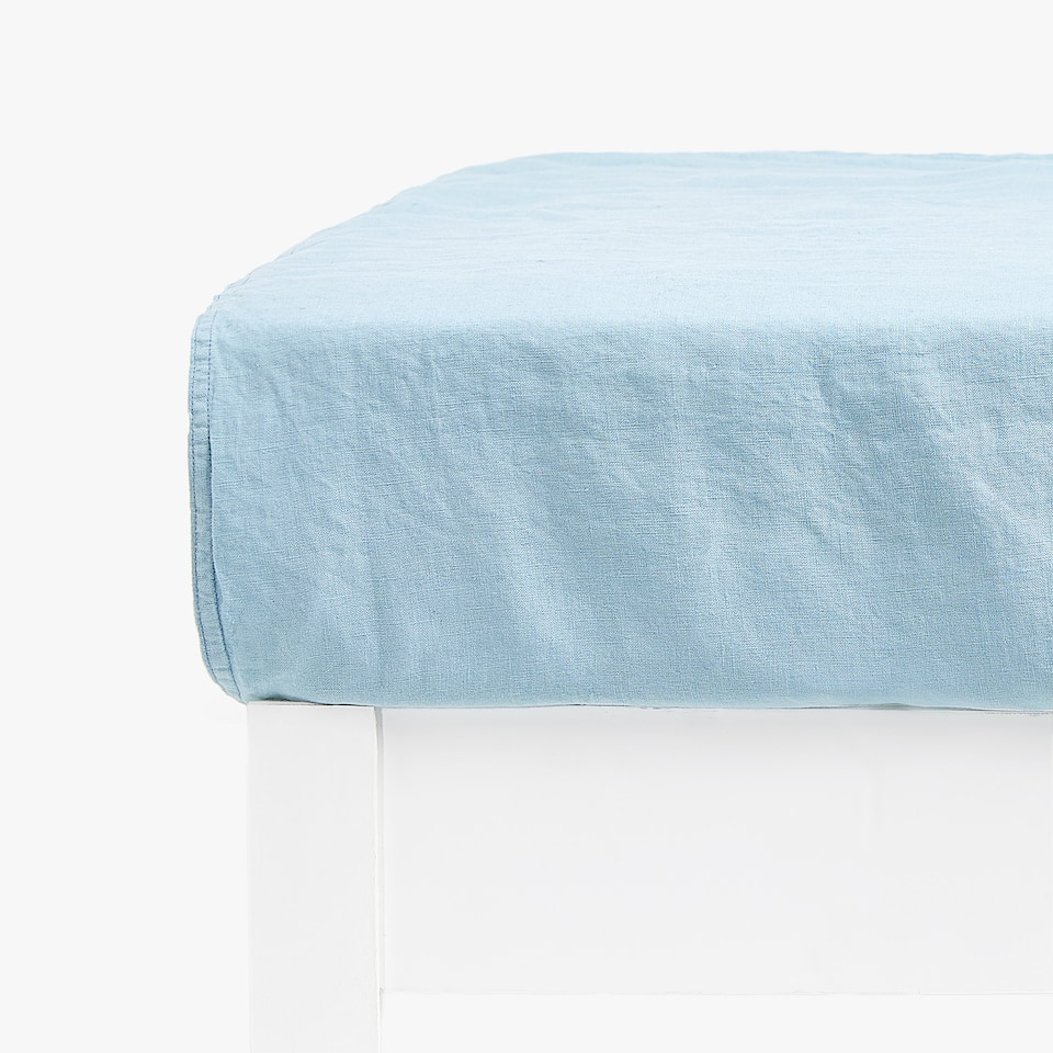 BLUE LINEN FITTED SHEET