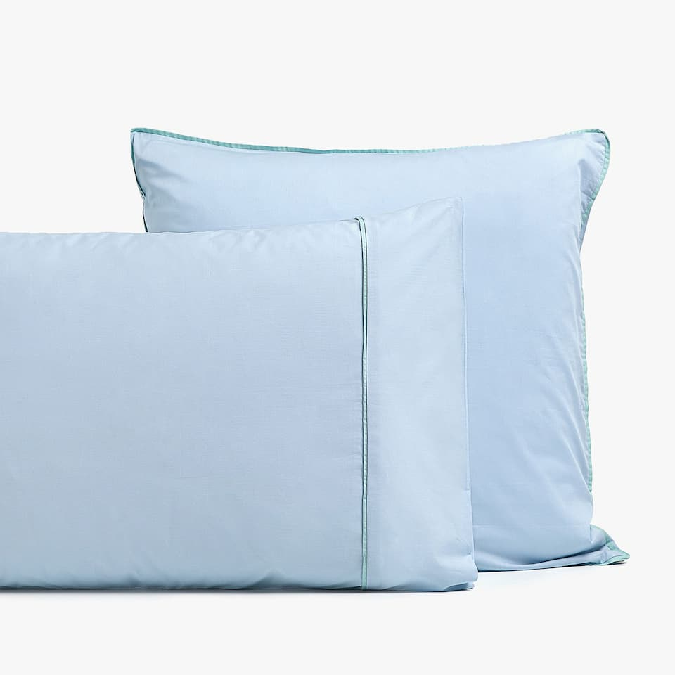 BLUE POPLIN PILLOWCASE