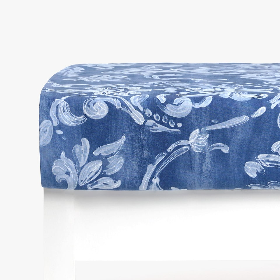 Damask Print Fitted Sheet