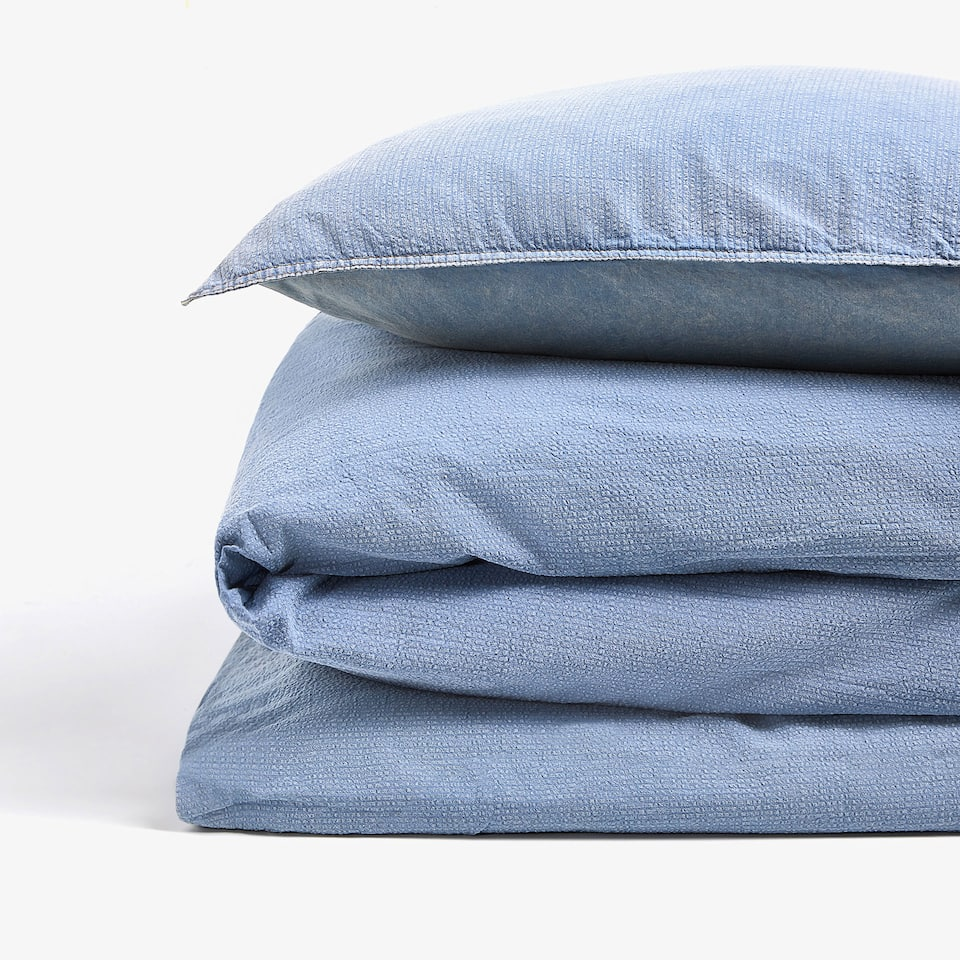 FADED SEERSUCKER DENIM DUVET COVER